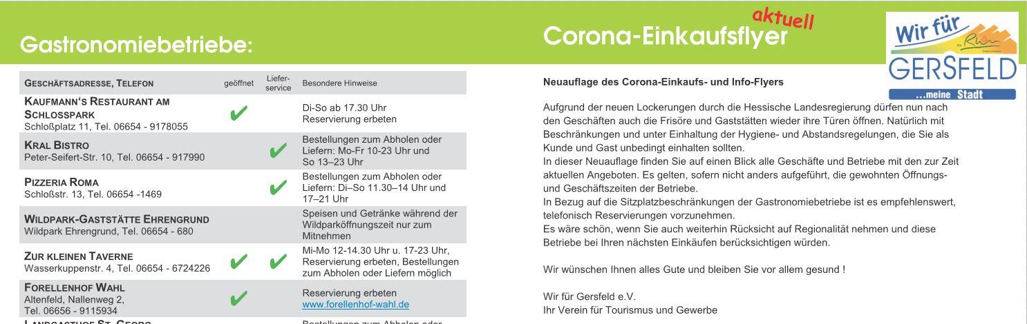 Corona Einkaufsflyer